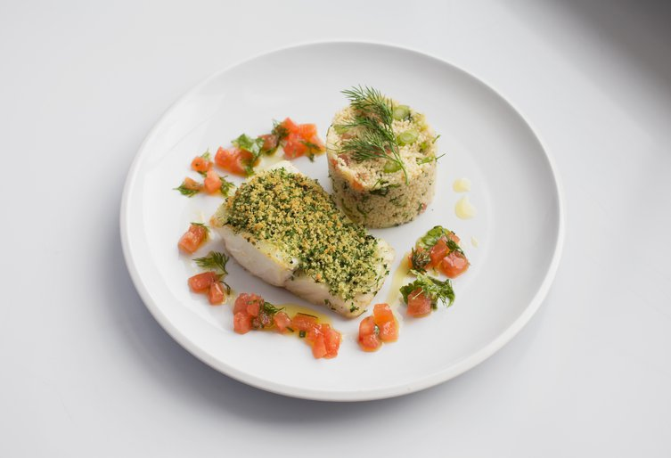 Baked cod filet, tabouli and tomato salsa - Step final pic