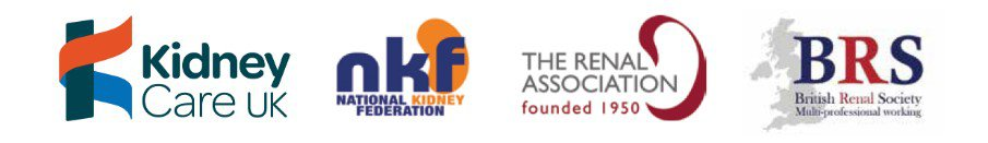 Kidney Care UK, NKF, Renal Association, and British Renal Society logos together