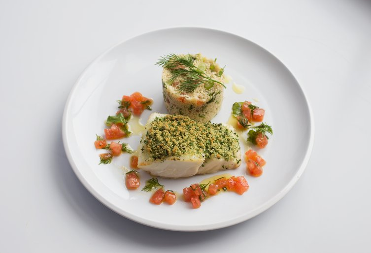 Kidney Kitchen - Baked cod fillet, tabouli, and tomato salsa