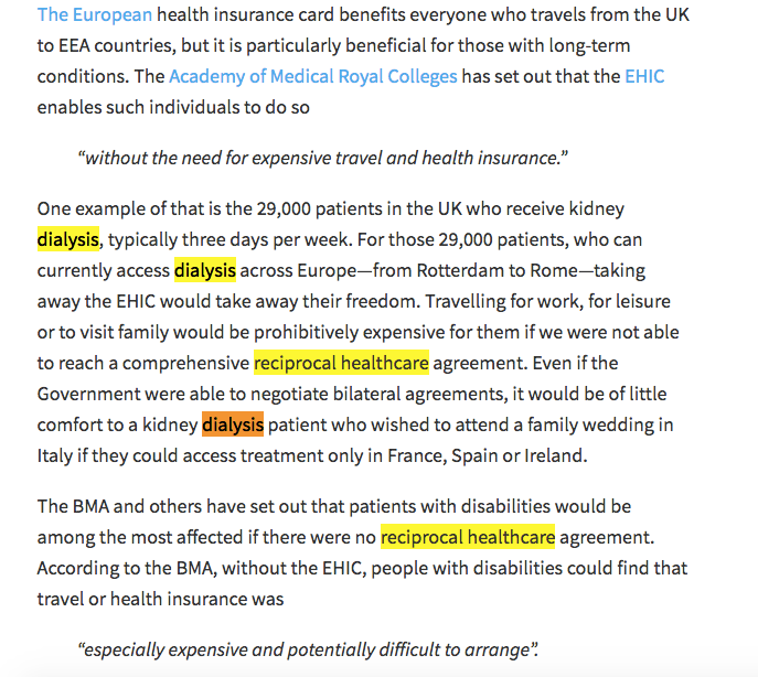 Parliament debate excerpt - EHIC and dialysis