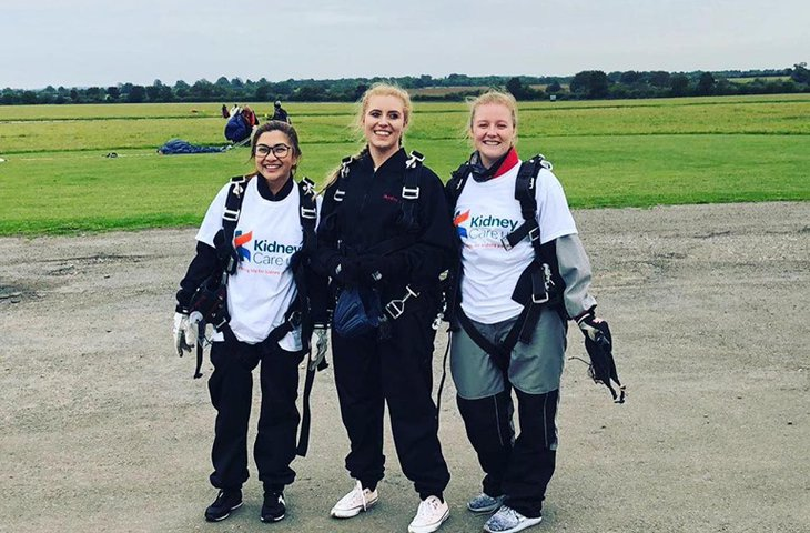 Sam, Kristina, and Demi skydive
